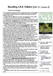 English Worksheet: Reading The Lord of the Rings by J.R.R.Tolkien - with exercises (Part 10)