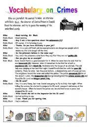 English Worksheets:  Crime Vocabulary & Reading