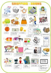 English Worksheet: SHOPPING - nouns - pictionary