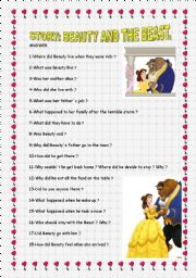 English Worksheet: STORY THE BEAUTY AND THE BEAST
