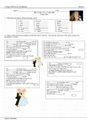 English Worksheet: Because you loved me.