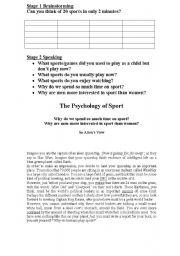 English worksheet: Sport Brainstorm