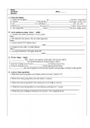 English Worksheets: PAST&PAST CONT.