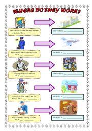 English worksheet: WHERE DO THEY WORK? PART II/II
