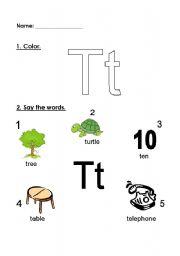 English Worksheets: letter Tt