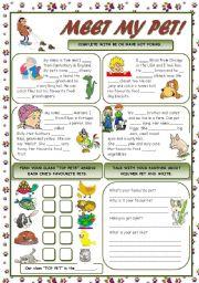English Worksheet: MEET MY PET!