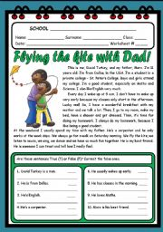 English Worksheets: FLYING THE KITE WITH DAD! ( 2 PAGES )