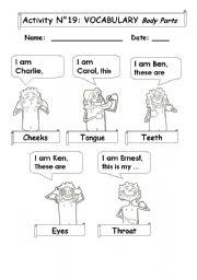 English Worksheets: Vocabulary:  Body Parts
