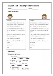 English Worksheets: reading comprehension test for young pupils