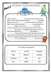English Worksheets: The alien - Reading comprehension 2/3 (4 pages)