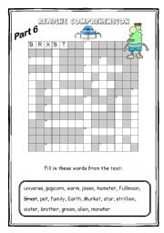 English Worksheets: The alien - Reading comprehension 3/3 (4 pages)