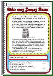English Worksheets: Who was James Dean. Reading comprehension.