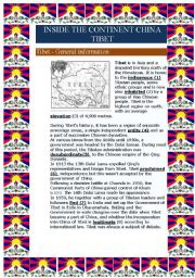 English Worksheet: Inside the continent China - Tibet (6 pages)