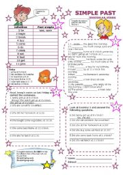 English Worksheet: simple past irregular verbs part 1