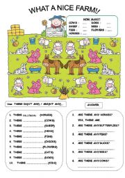 English Worksheets: THERE IS / ARE + Animals (B&W version included!)