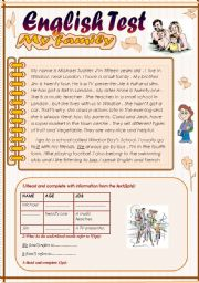 English Worksheet: English Test (3 parts): 7th form.Reading Comprehension/Grammar+ Vocabulary/writing(+Key)