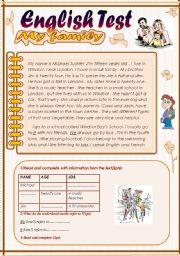 English Worksheet: English Test (3 parts): 7th form.Reading Comprehension/Grammar+ Vocabulary/writing(+Key)