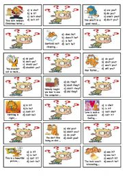 English Worksheet: Question tags cards - part 2