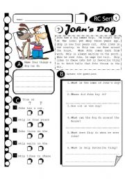 English Worksheet: RC Series 02 John�s Dog (Fully Editable + Answer Key)