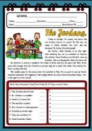 English Worksheets: THE JORDANS ( 2 PAGES )