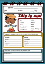 English Worksheets: THIS IS ME! ( 2 PAGES )