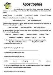English Worksheet: Apostrophes