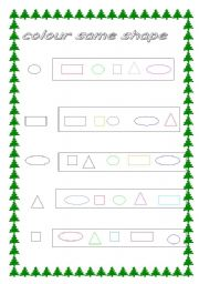 English worksheet: shapes colors