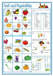 English Worksheet: Fruit and Vegetables(1)