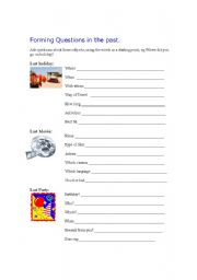 English Worksheets: Forming questions in the past