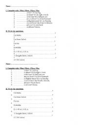 English Worksheets: Question words: What, When, Who, Where