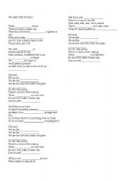 English Worksheets: Michael Jackson�s We are the World fill in the blanks exercise