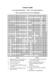 English Worksheet: Workplace English Crossword