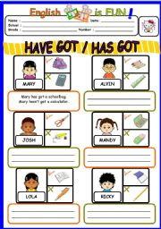English Worksheet: HAVE GOT /HAS GOT