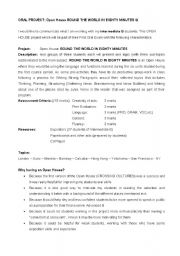 English worksheet: ORAL PROJECT- OPEN HOUSE:AROUND THE WORLD IN EIGHTY MINUTES