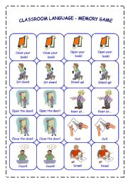 English Worksheet: CLASSROOM LANGUAGE - MEMORY GAME - PART 1