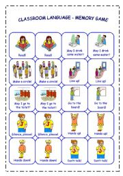 English Worksheet: CLASSROOM LANGUAGE - MEMORY GAME - PART 2