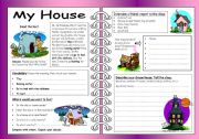 English Worksheets: Four Skills Worksheet - My House