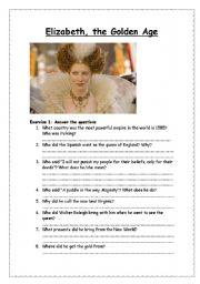 English Worksheets: Elizabeth, the golden age