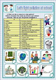 English Worksheets: let�s fight pollution at school