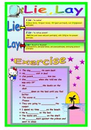 English Worksheets: Lie,Lay
