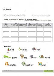 English Worksheets: Animal + Verbs worksheet