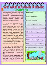 English Worksheet: WE are having picnic