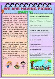 English Worksheet: We are having picnic ( part 2)