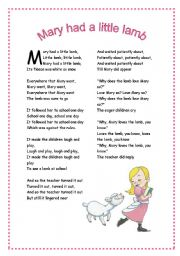 English Worksheets Mary Had A Little Lamb