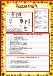 English Worksheets: possessive �s