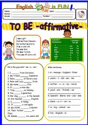English Worksheet: TO BE affirmative - am-is-are- ( 1 of 3 )