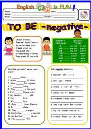 English Worksheet: TO BE negative - am not-is not-are not- ( 2 of 3 )