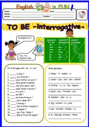 English Worksheet: TO BE interrogative ( 3 of 3 )