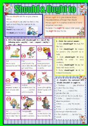 English Worksheet: SHOULD & OUGHT TO (B&W version and KEY included) -FULLY EDITABLE