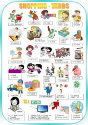 English Worksheet: SHOPPING - verbs - pictionary